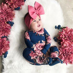 Newborn Baby Floral Long Sleeve Romper Floral Jumpsuit Girl Warm Leg Socks Outfit