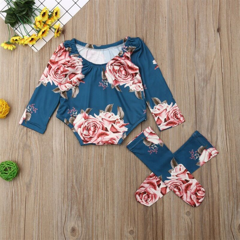 Newborn Baby Floral Long Sleeve Romper Floral Jumpsuit Girl Warm Leg Socks Outfit long sleeve