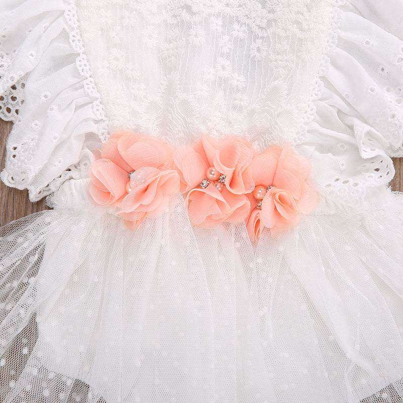Newborn Infant Baby Girls White Lace Romper Dress with Peach Floral Details and Rhinestones with Matching Headband
