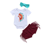 baby girl tribal style boho outfit  baby girl native american onesie set  baby girl indian onesie  baby girl indian headdress onesie  baby girl fringe shorts