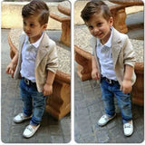 Toddler Khaki Suit Coat and Denim Pants Set with Collard Shirt