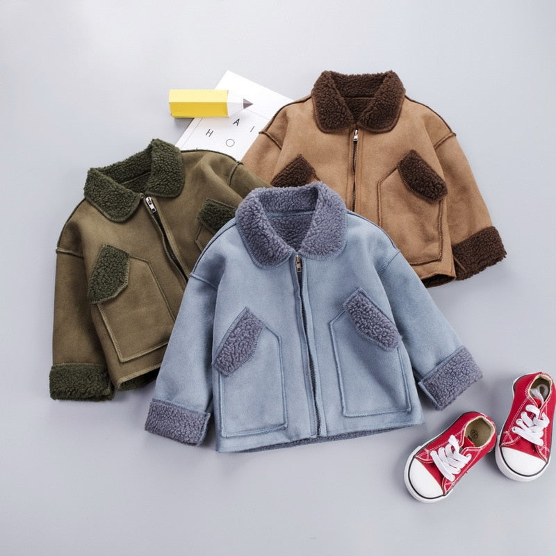 Kid Boy Velvet Jacket Fall Top Coats Lapel Neck Long-Sleeve Side Pocket Keep Warm Zipper Blouse