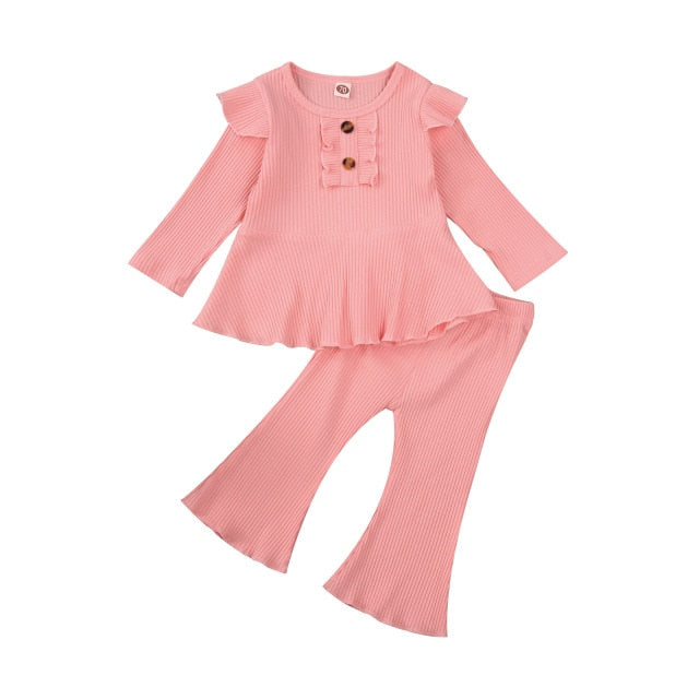 Infant Baby Girls Long Sleeve Tops Ruffle with Flared Pants Bell Bottoms