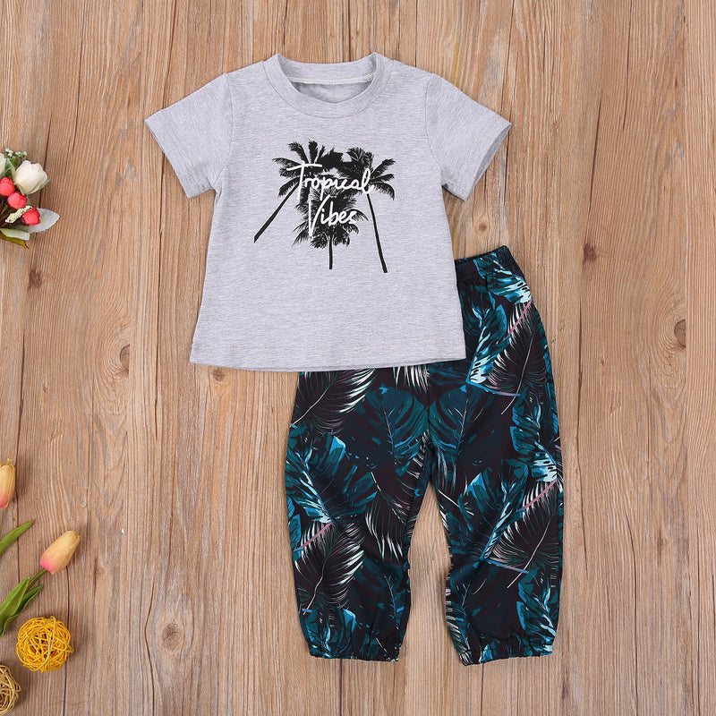 Baby and Toddler Boys Tropical Vibes Shirt and Pant Set Palm Tree Shirt and Pants