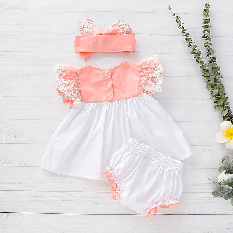 Baby Newborn Girl Kids Lace Dress Tops with Bow Peach and White Bloomer Dress Set Spring Summer