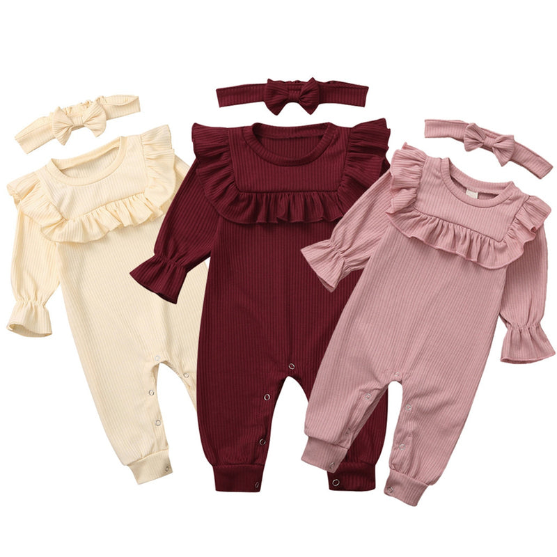Newborn Infant Baby Girl Winter Clothes Solid Ruffle Romper Jumpsuit Headband Outfits Set Vintage Look