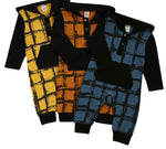 Infant Newborn Baby Boy Hooded Jumpsuit Long Sleeve Plaid Print Button One Piece Romper with Pocket