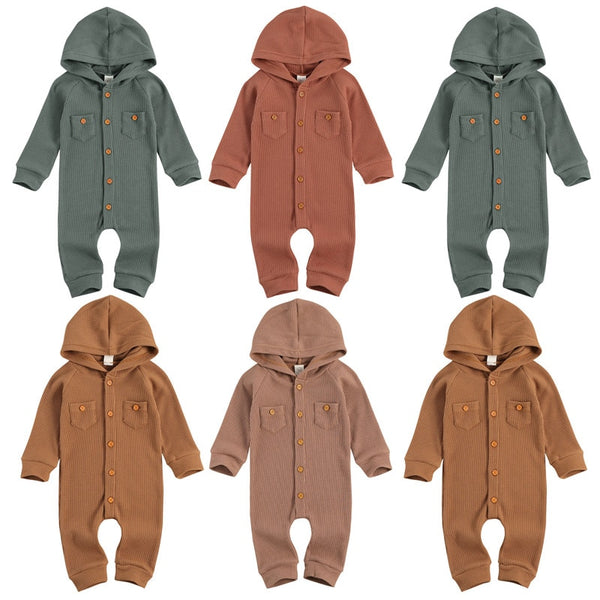 thermal hooded long sleeve baby boy baby girl rompers button up neutral colors baby shower gift christmas