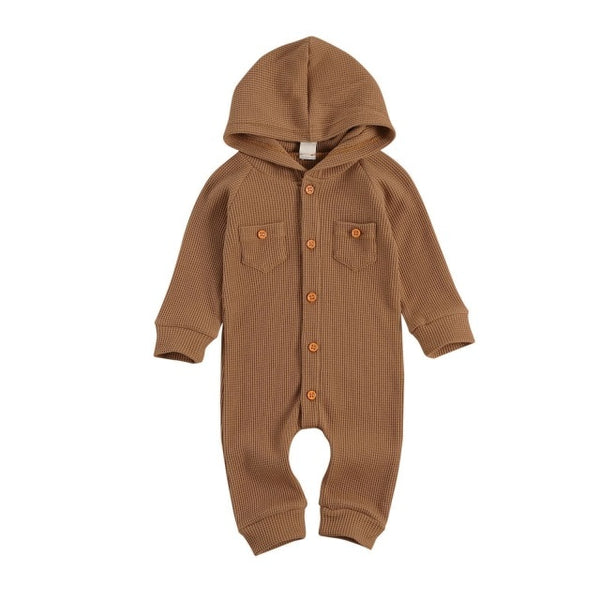 Newborn Baby Girl Boy Solid One-piece Waffle Pattern Thermal Romper Long Sleeve Button Up Hooded Romper Unisex Neutral Colors