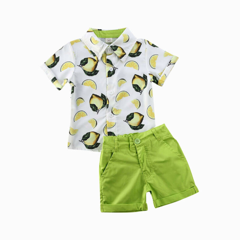 Toddler Boy Lemon Shirt Button Up Shirts for Boys with Pants Set Boys Spring and Summer Outfits Cute Boy Clothes