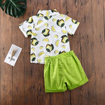 Boys Lemon Button Up Collard Shirt with Matching Shorts Set Toddler Boy Outfits