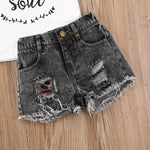 Toddler Girl Sassy Little Soul and Distressed Denim Short Set Black and White