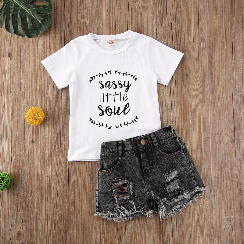 sassy little soul girls set  girls black distressed denim shorts toddlers  cute outfits for toddler girls leopard print patch distressed denim