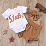 Baby Girl Babe Onesie with Bloomer Shorts and Matching Headband Natural Colors