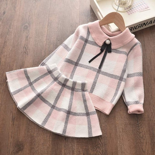 Toddler Girls Clothes Knit Sweater and Pleated Skirts Set Winter Fall Children 2T,3T,4T,5T,6T