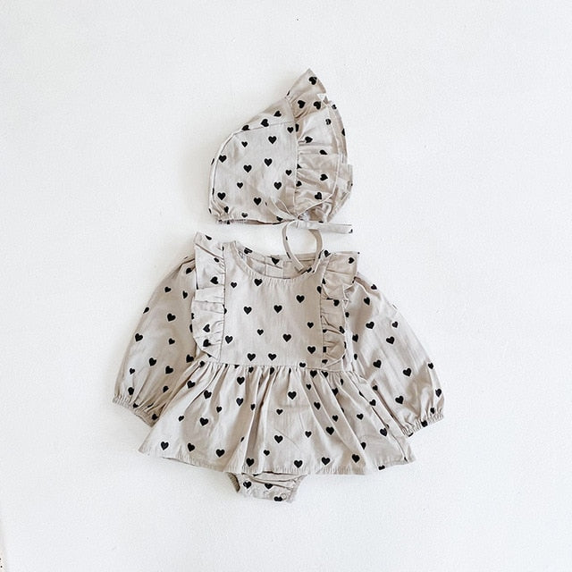 Baby Girl Onesie Dress with Bonnet Simple Baby Classic Outfit Natural Neutral Colors