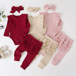 Adorable Baby Girl Long Sleeve Ruffle Onesie set with Matching Pants and Ruffle Butts. Such a perfect basic little outfit for the winter time!