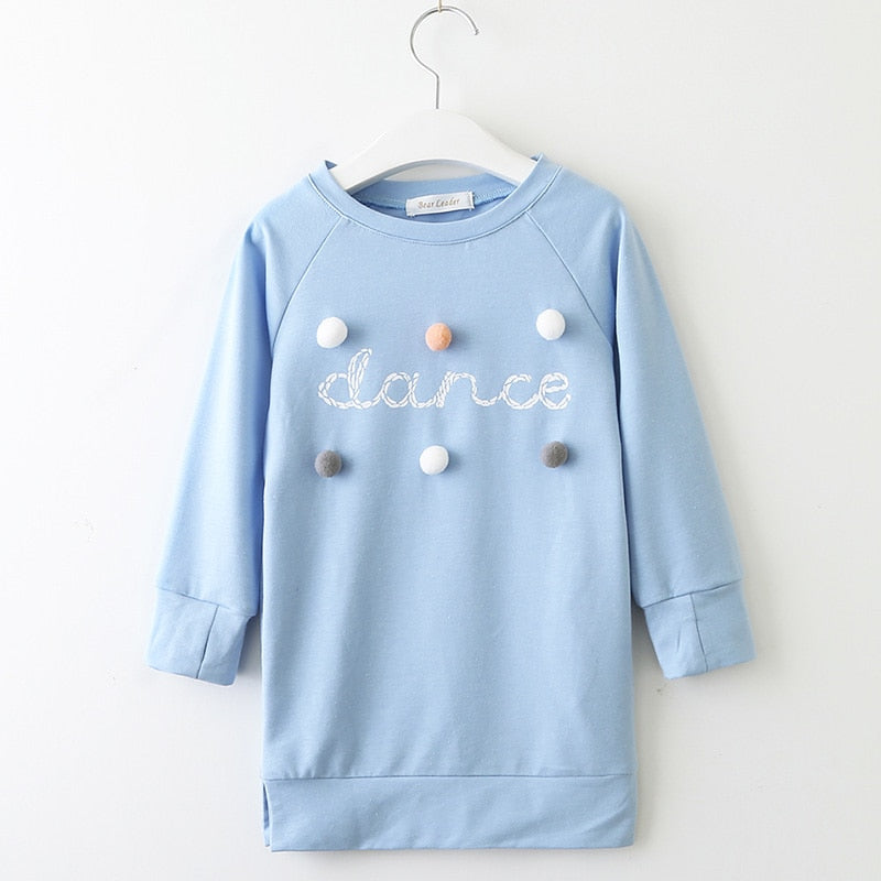 Girls Sweatshirt Dress Dance with Pom Poms in Blue or Pink