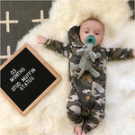 Baby Boy Camo Romper Long Sleeve Hoodie Jumpsuit with Wooden Buttons Camouflage