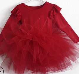 Girls Leotard Princess Tutu Dress Toddlers Baby Girls Dress Long Sleeve Tulle Dance Costume