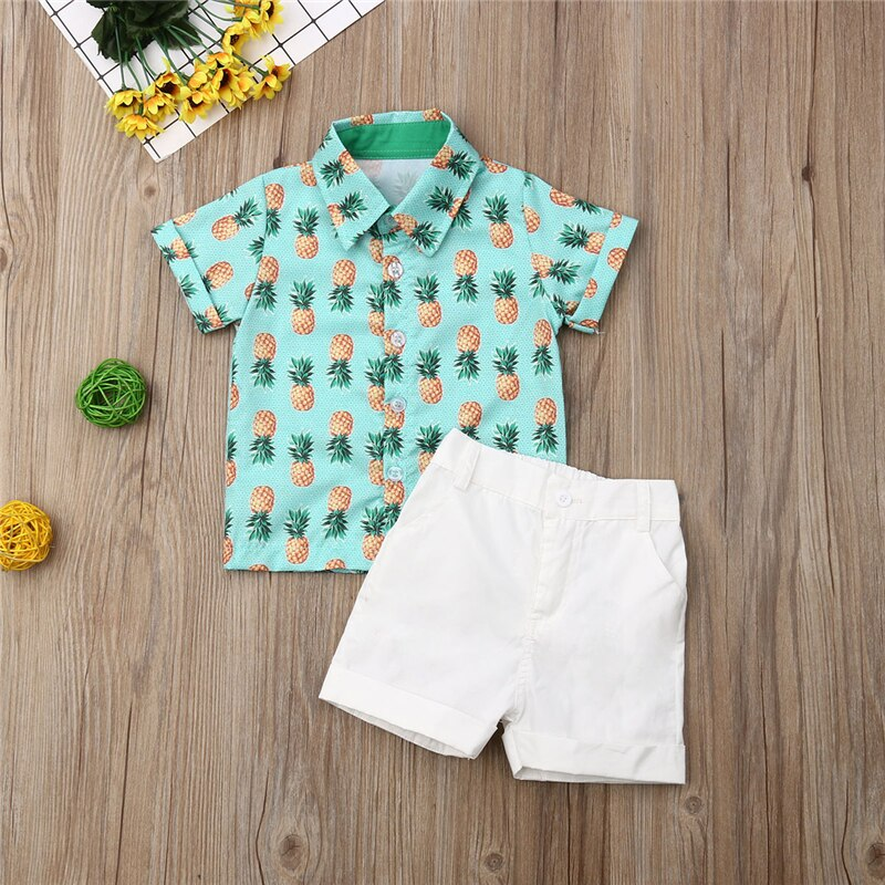 Kids Toddler Boys Clothes Sets Pineapple Print Button Up T-shirt and White Shorts Outfit