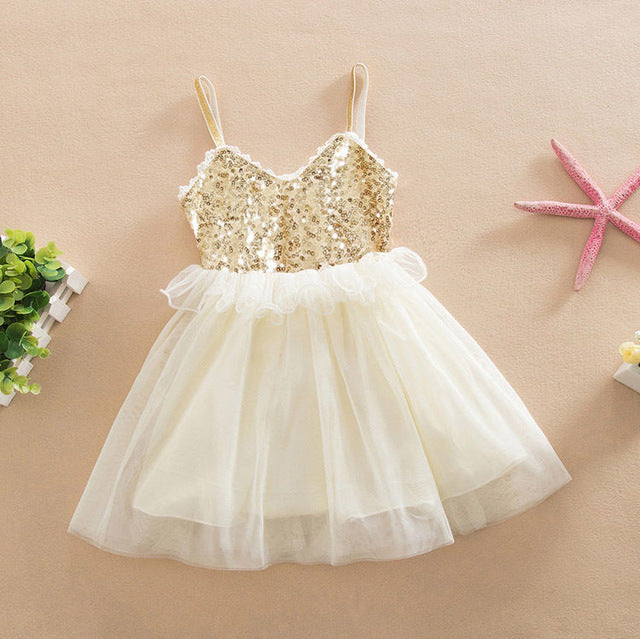 ac8be8f7db Tulle Ball Sleeveless Dresses Sequins Princess Children Baby Girl Clothing  Lace Party Gown Fancy Dresses Girl Birthday