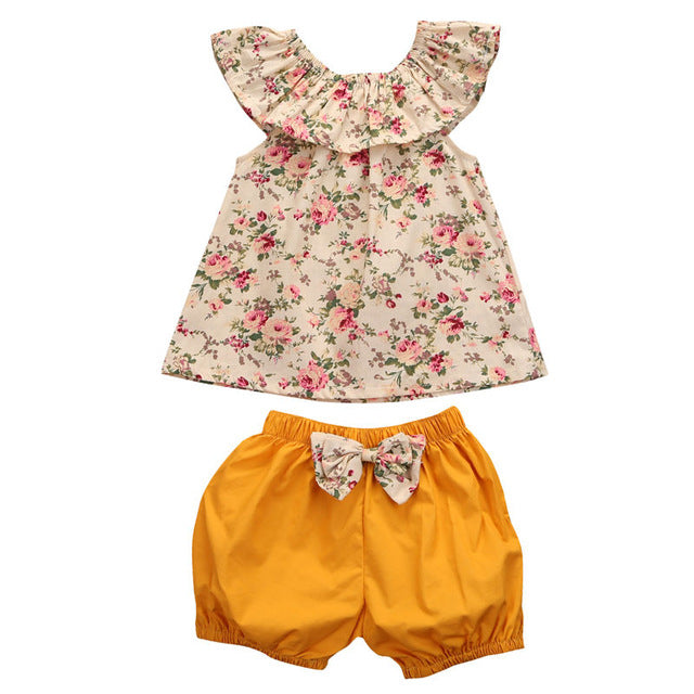 Baby Girl Vintage Floral Flutter Sleeve Tank with Mustard Bloomer Shorts