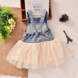 Fashion Summer Lace Denim Patch Baby Girl Dress Children Party Frock Baby Girls Kids Princess Party Tutu Dress