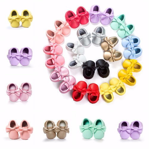 Baby Girl Moccasins with Bows First Walkers Soft Sole Shoes