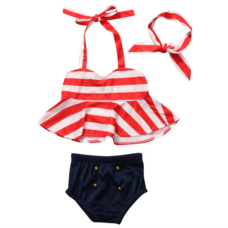 Infant Baby Girls Swimsuits Red Stripe Romper Bathing Suit One Piece Swimwear Bikini Outfits