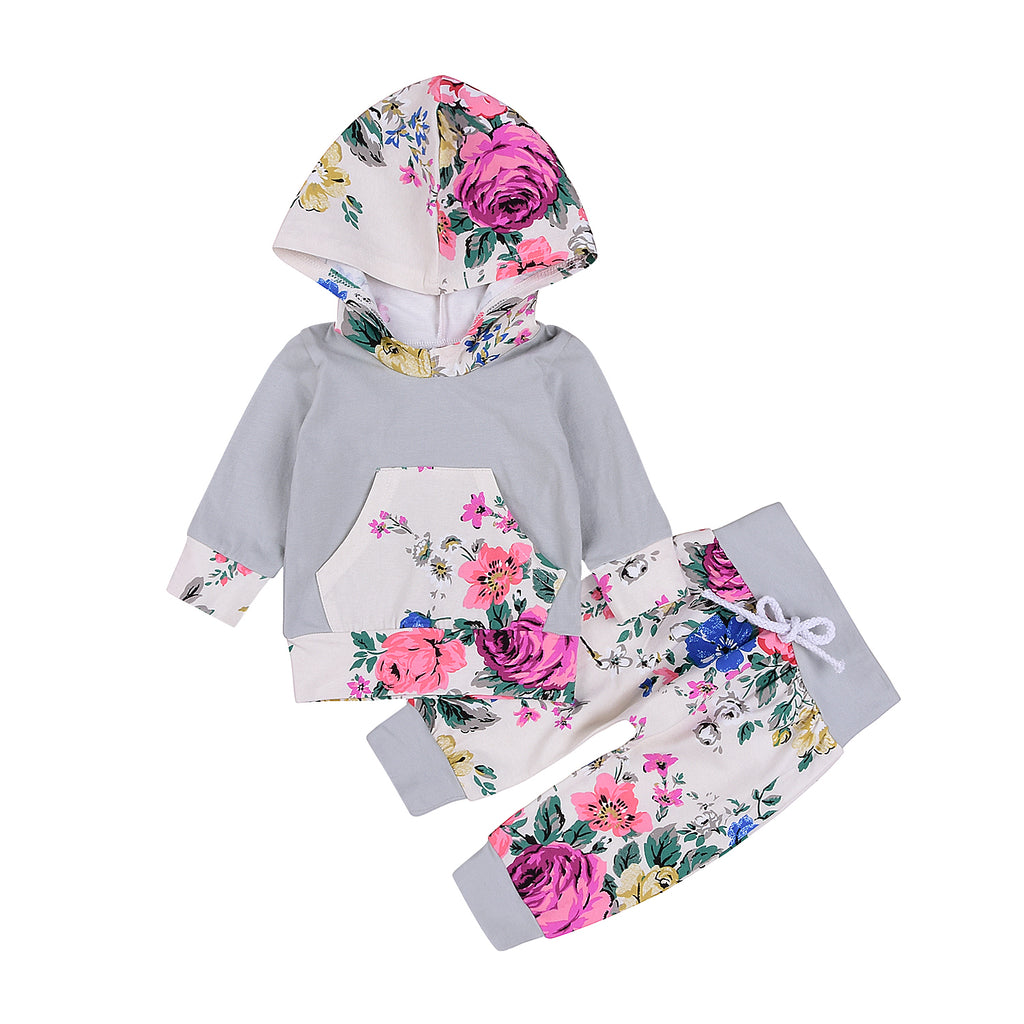 Baby Girl Floral Hooded Sweater Set with Pants