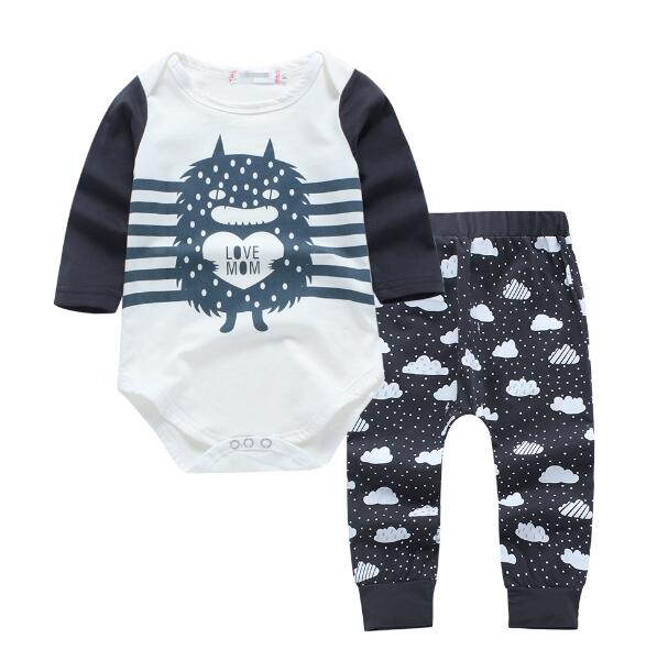 d75dbf49656 Baby Boy Little Monster Romper with Pants Set Monochrome – Noah s ...