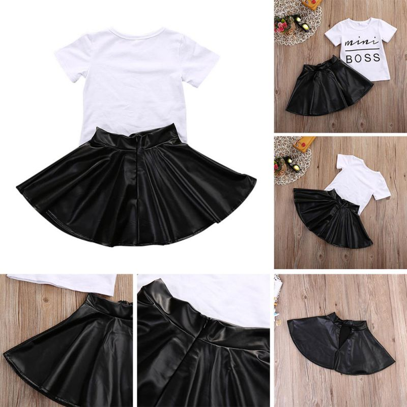 Mini Boss Girls Summer Short Sleeve T-shirt Tops + Leather Skirt Outfit Child Clothing Suit Toddler Girls Clothes Set