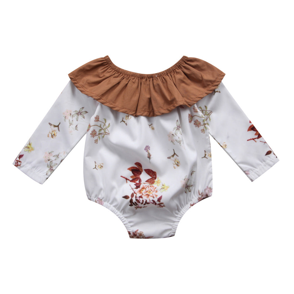 Baby Girl Boho Long Sleeve Floral Romper with Ruffle Collar