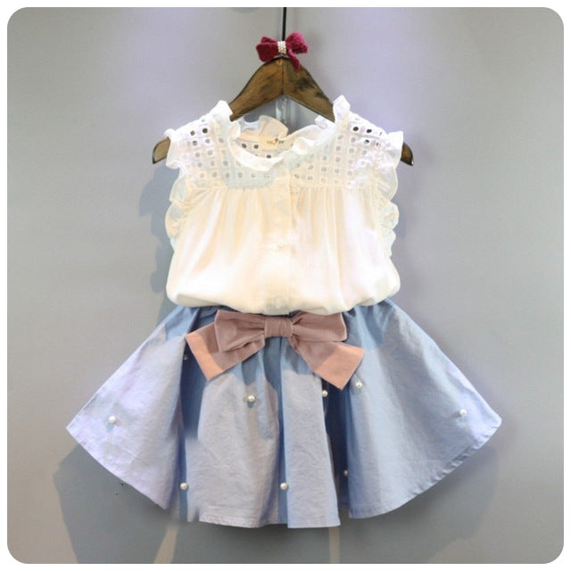 e19bab76b37 Baby Girl Summer Outfit with Denim Pearl Skirt and Eyelet Top – Noah s  Boytique