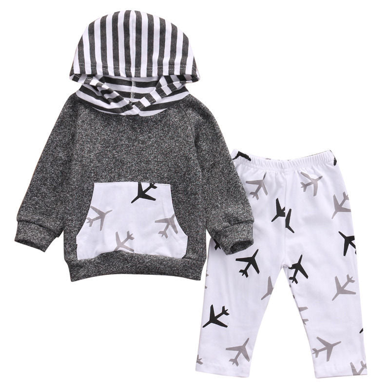 Baby Boy Black and Gray Airplane Hoodie and Pant Set