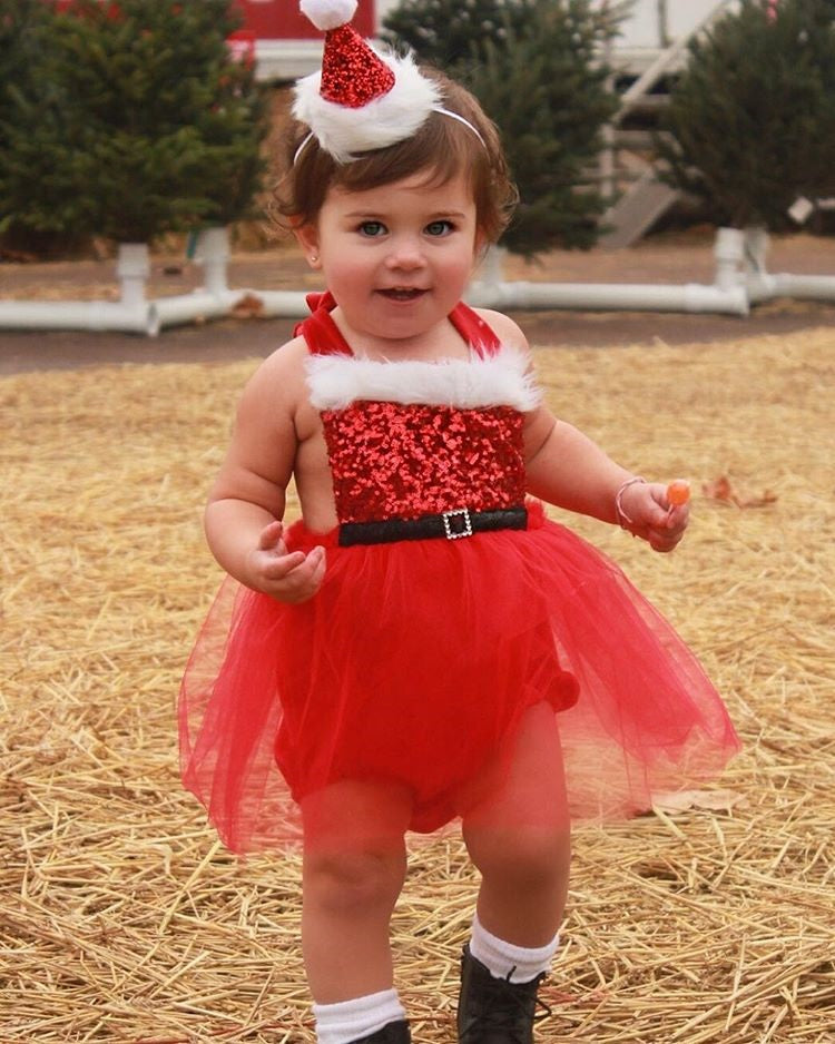 Baby Girl Sequin Tutu Santa Dress for Christmas Pictures Red Or Green