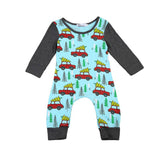 Baby Boy Romper with Car and Christmas Tree Long Sleeve