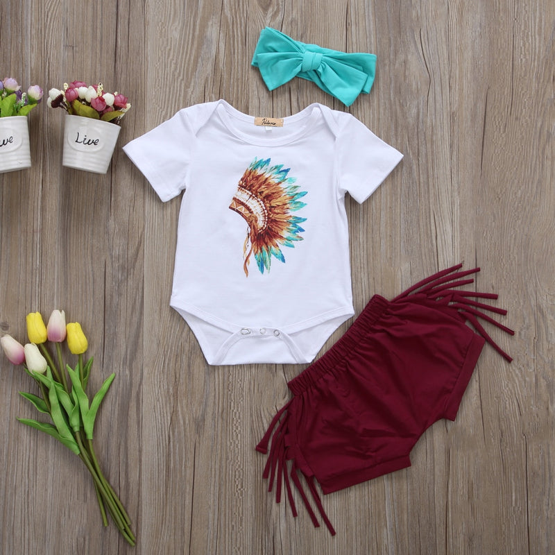 Newborn Toddler Infant Baby Girls Feather Tassels Outfits Short Sleeve Romper Shorts Headband Tribal Style
