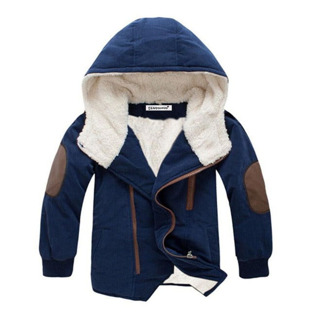 Boys Fleece Lined Coat with Elbow Patches Stylish Winter Jacket Toddler