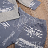 Long Sleeve 2pc Set Vintage Airplane Outfit Baby Boy