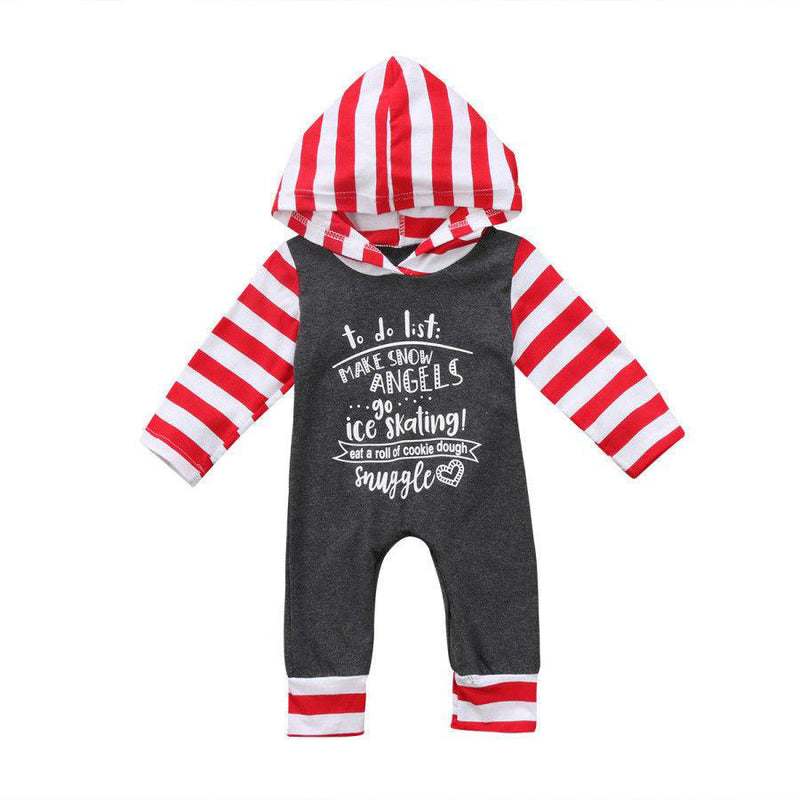 Baby Boy Hooded Romper Gray Red White Winter Clothes