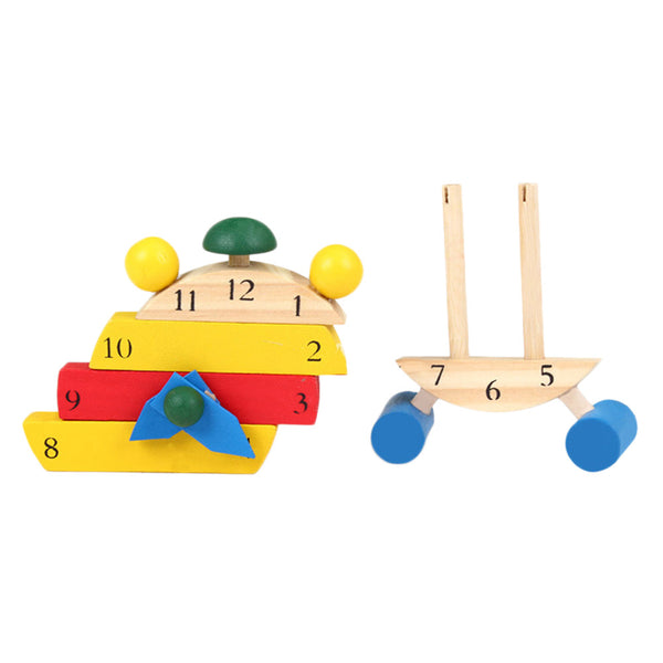 Toddler Wooden Color Digital Cognitive Learning Clock Puzzle