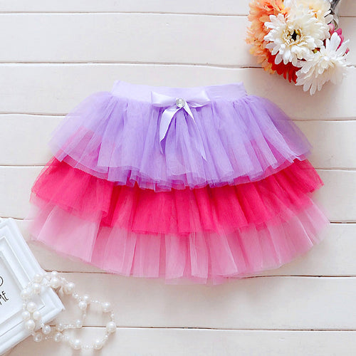 Baby Girl Tutu Skirt with Multicolor Layers First Birthday