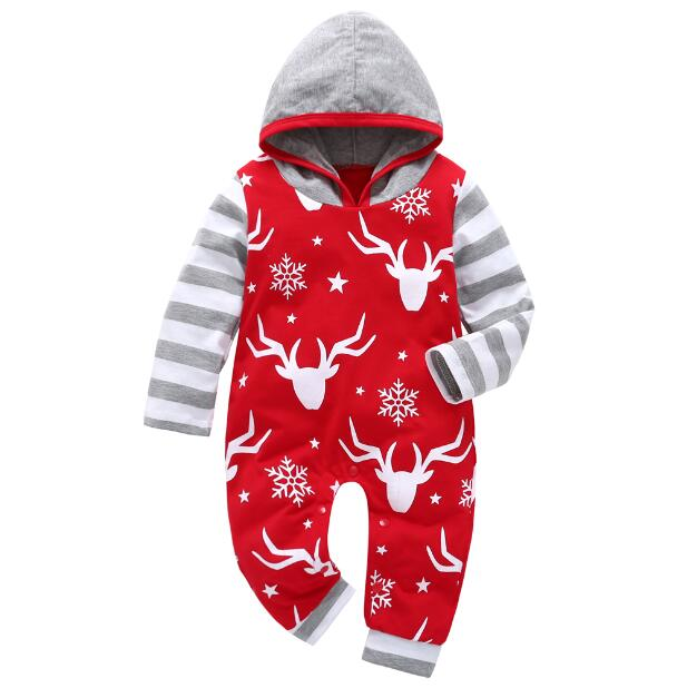 Long Sleeve Hooded Baby Romper with Reindeers and Gray Stripes