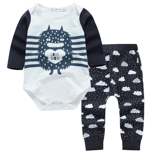 Baby Boy Little Monster Romper with Pants Set Monochrome