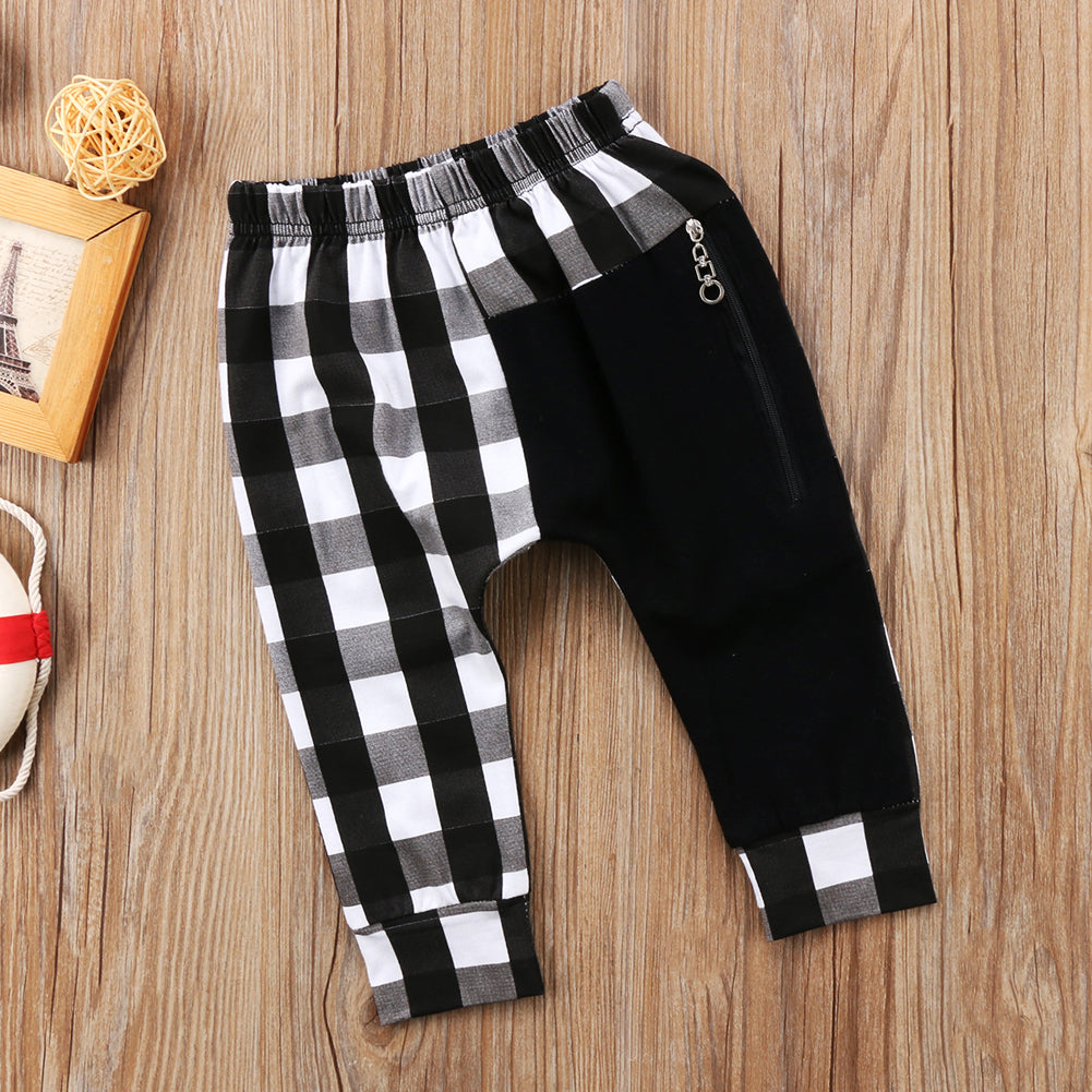 Toddler Kids Boys Plaid Zipper Bottom Pants Boys Casual Harem Pants Buffalo Plaid