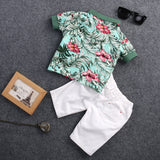 2pcs Toddler Kids Baby Boy Fashion Sets Flower Polo Shirt + White Short Pants Outfits Cotton Summer Clothing Set