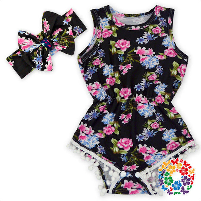 Baby Girl Pom Pom Rompers Floral Dots Leopard