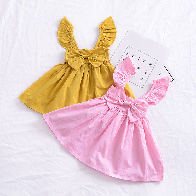 f783bb118 Baby Girl Dress Summer Girls Puff Sleeve Yellow Pink Bow Dress Boho ...